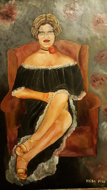 דיוקן עצמי ציור שמן פרידה פירו ציירת ישראלית אמנית ציירות אמניות ישראליות
