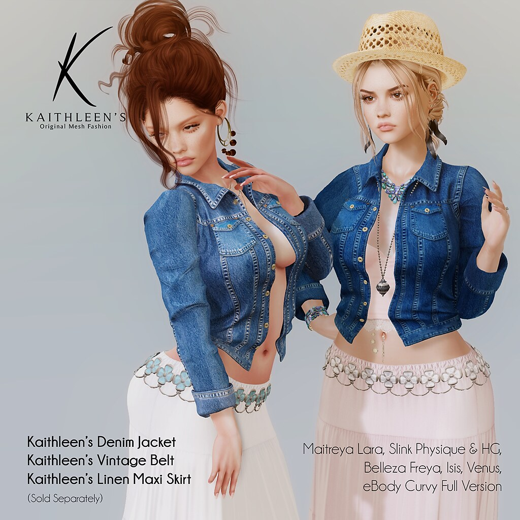 Kaithleen's Denim Jacket, Vintage Belt & Linen Maxi Skirt