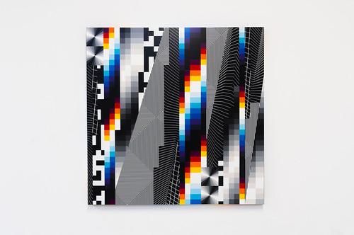 Felipe Pantone  Optichromy # 86 , 2018  Spray and UV ink on aluminum pane