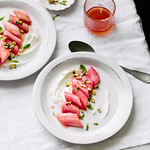 roasted rhubarb with yogurt, mint, pistachio