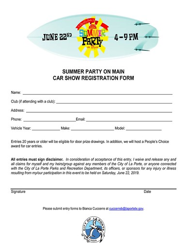 06-22-2019 City Of La Porte Summer Party Entry | by Camaro Kid Car Show Listings
