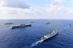 Ships from the U.S. Navy, Indian Navy, Japan Maritime Self-Defense Force and the Philippine Navy steam together, May 5. (JMSDF photo)