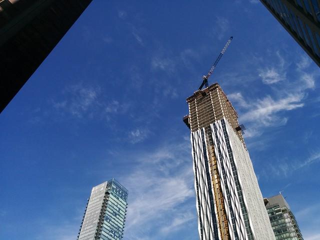Towers of Yorkville #toronto #yorkville #yongestreet #condos #towers #skyline #blue #sky #clouds