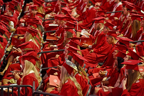 Sea of red gowns in PNC Arena.