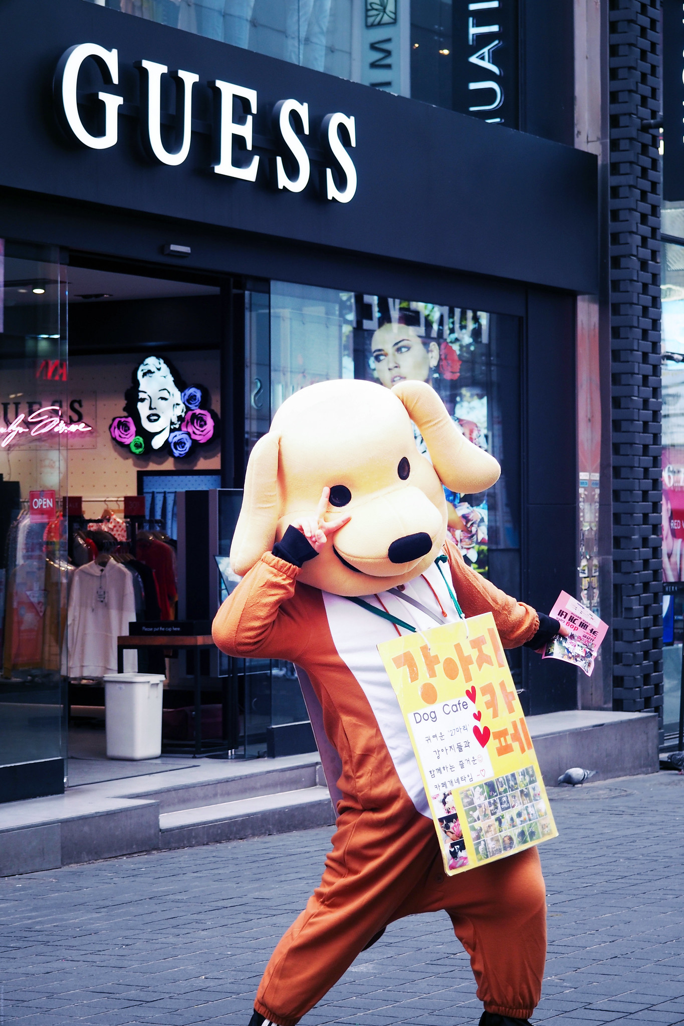 Person dressed as a dog seoul south korea_effected
