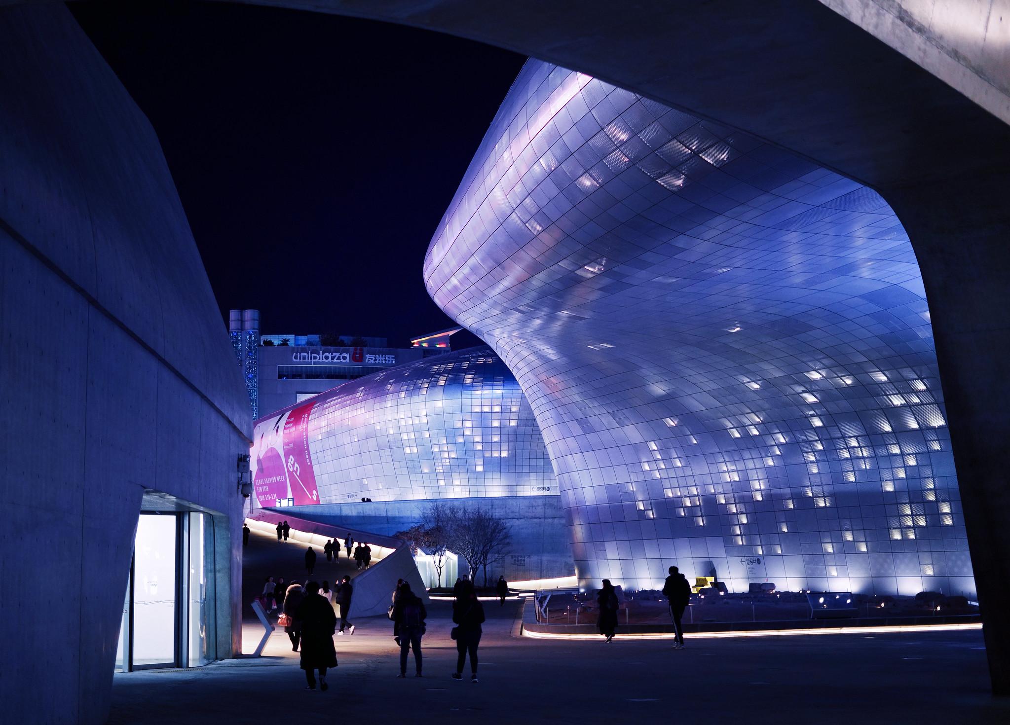 Dongdaemun design plaza ddp futuristic building synth wave