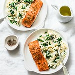 creamy spinach orzotto and salmon...
