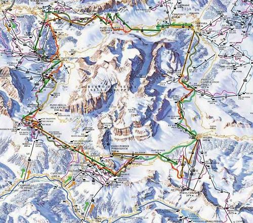 Sella Ronda - mapa sjezdovek
