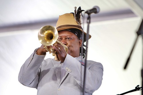 Kermit Ruffins' Tribute to Louis Armstrong at Jazz Fest day 8 - 5.5.19. Photo by Michele Goldfarb.