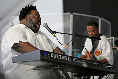 Craig Adams at the Tribute to Raymond Myles in the Gospel Tent at Jazz Fest day 8 - 5.5.19. Photo by Bill Sasser.