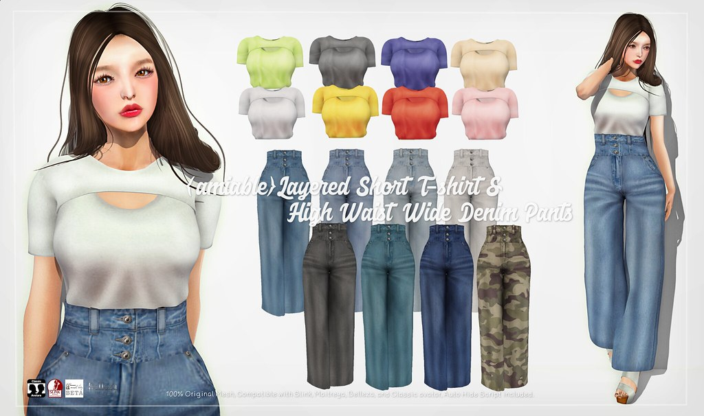 {amiable}Layered Short T-shirt & Hight Waist Denim Pants@ ACCESS(50%OFF SALE).