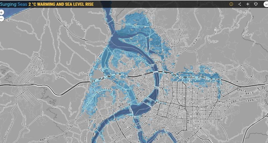 升溫2°C情境下,台北市與新北市海平面上升地圖。截圖自網站「sealevel.climatecentral.org」。