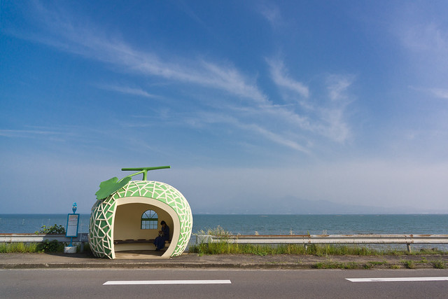 bus stop by the sea