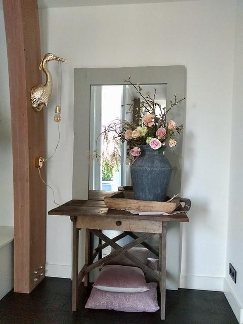 Kruik lamp reiger tafeltje spiegel