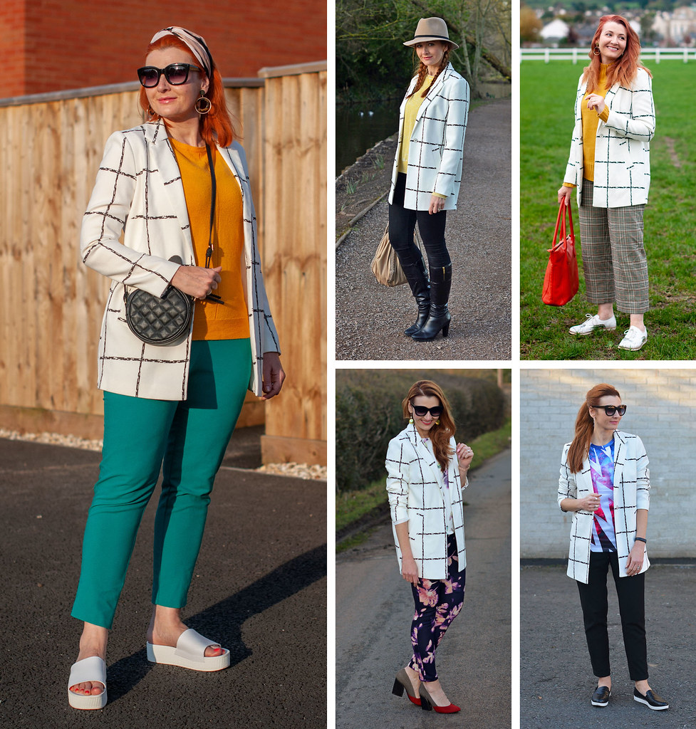 Over 40 fashion: 5 ways to wear a black and white windowpane check jacket   Not Dressed As Lamb