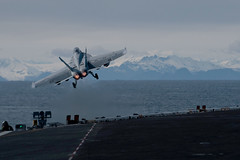 An F/A-18F Super Hornet from Strike Fighter Squadron (VFA) 154 launches from USS Theodore Roosevelt (CVN 71) while participating in exercise Northern Edge 2019, May 13. (U.S. Navy/MC3 Andrew Langholf)