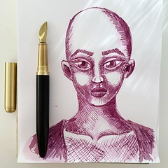 I got this blade nib fountain pen as a gift for myself. So far I'm enjoying playing with it. As seen by an overworked drawing that I was trying out different things with. :blush: The pen is made by @thingsbydan #fountainpen #super5inkaustralia #super5ink