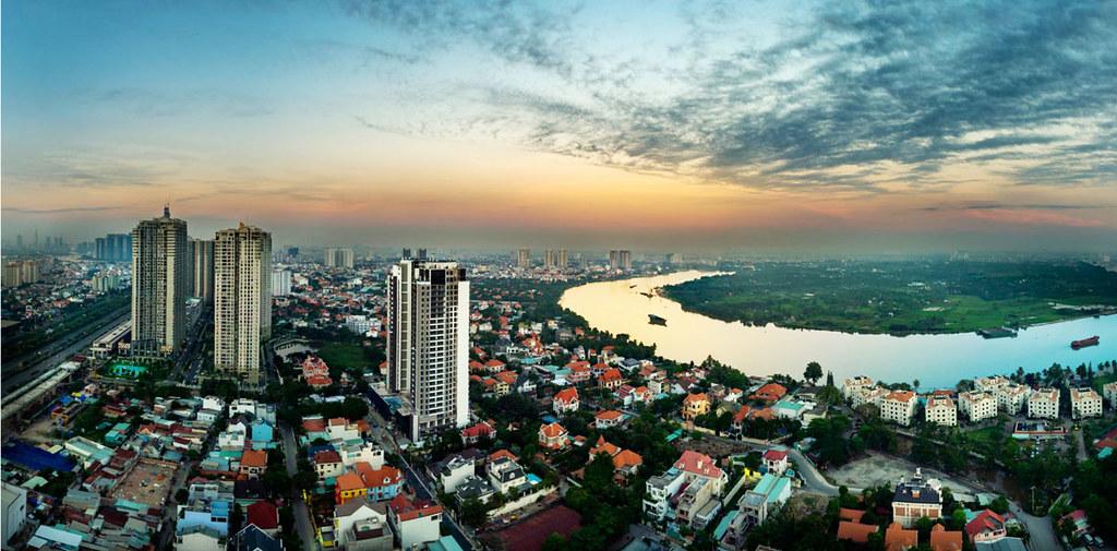 view từ tầng cao Q2 Thảo Điền