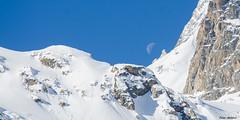 the moon on the mountain ridge