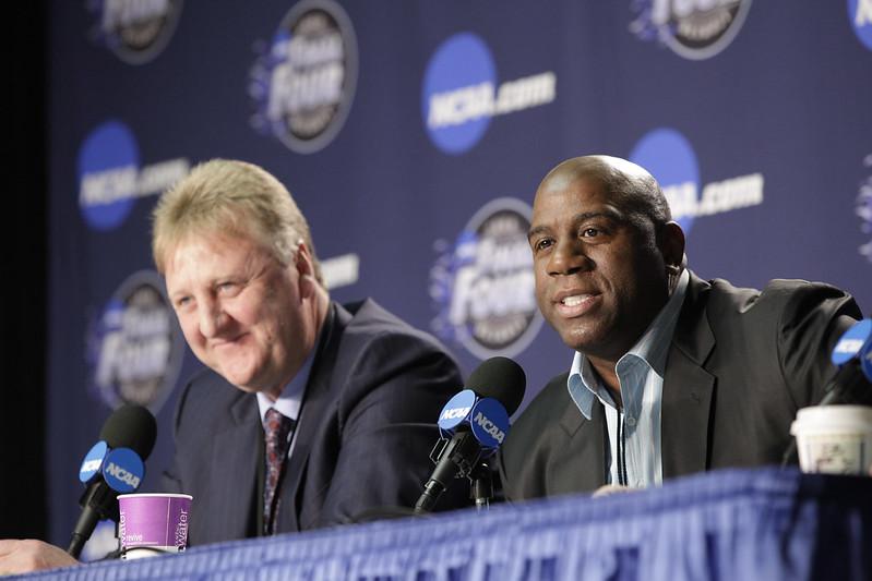 Magic Johnson與Larry Bird亦敵亦友的關係一直是人們津津樂道的話題。(達志影像資料照)