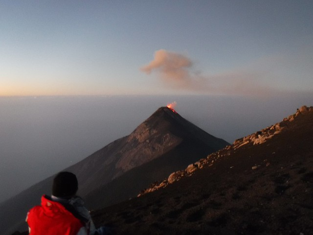 Aaron at Acatenango summit, view of Fuego