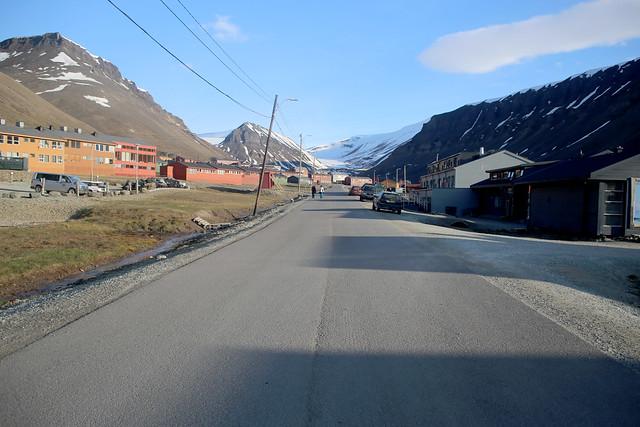 The main road in Longyearbyen