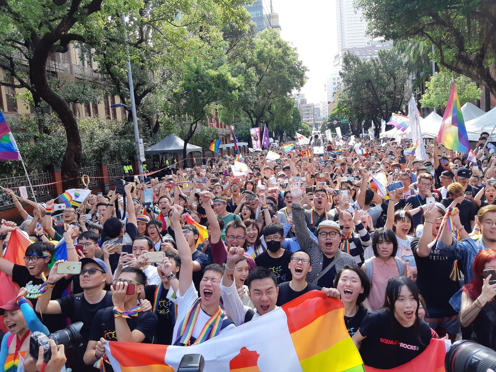 同婚法案三讀通過,台灣成為亞洲第一個通過同婚的先驅。(攝影:張智琦)