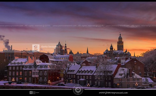 Old Quebec sunset after an ice storm 16X9 DRI  [ Getty Images ] | by Jean Surprenant photomagiste