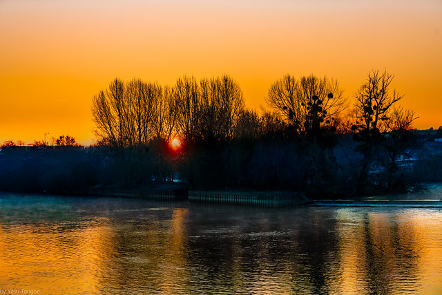Colorful Mornings:  Sunrise along the Seine River viewed from a riverboat near Rouen (between Rouen and Les Andelys), Normandy Region, France -13a