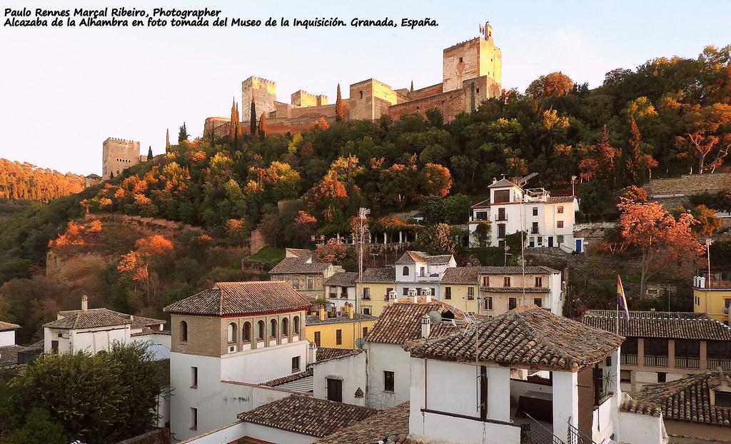 Alcazaba de la Alhambra en foto tomada del Museo de la Inquisición. Granada, España