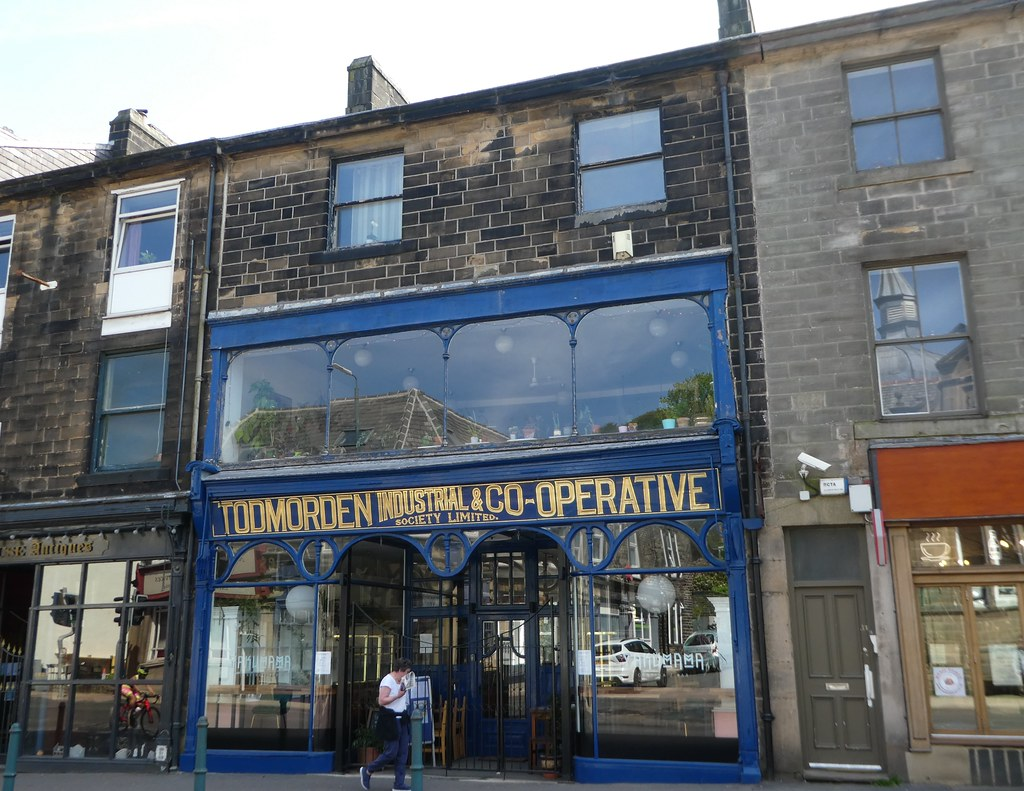 The original shop front of the former Todmorden Co-op