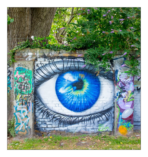The Human Eye in Street Art (Soureye), East London, England.