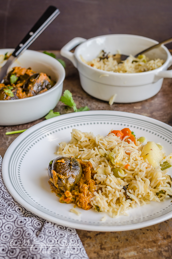 Stuffed brinjal curry with bagara rice