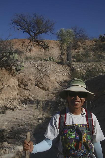 Enriqueta hiking in a desert wash, Arizona