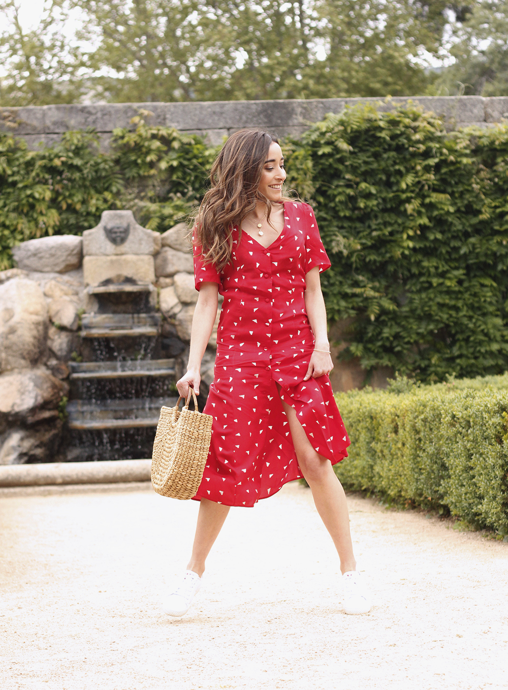 red midi summer dress white sneaker straw bag street style outfit 201916
