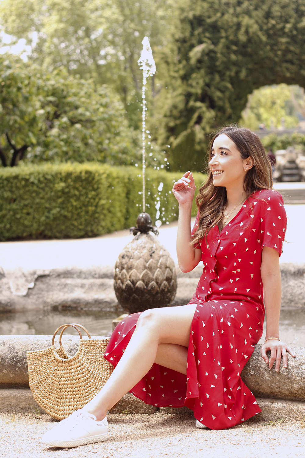 red midi summer dress white sneaker straw bag street style outfit 20199