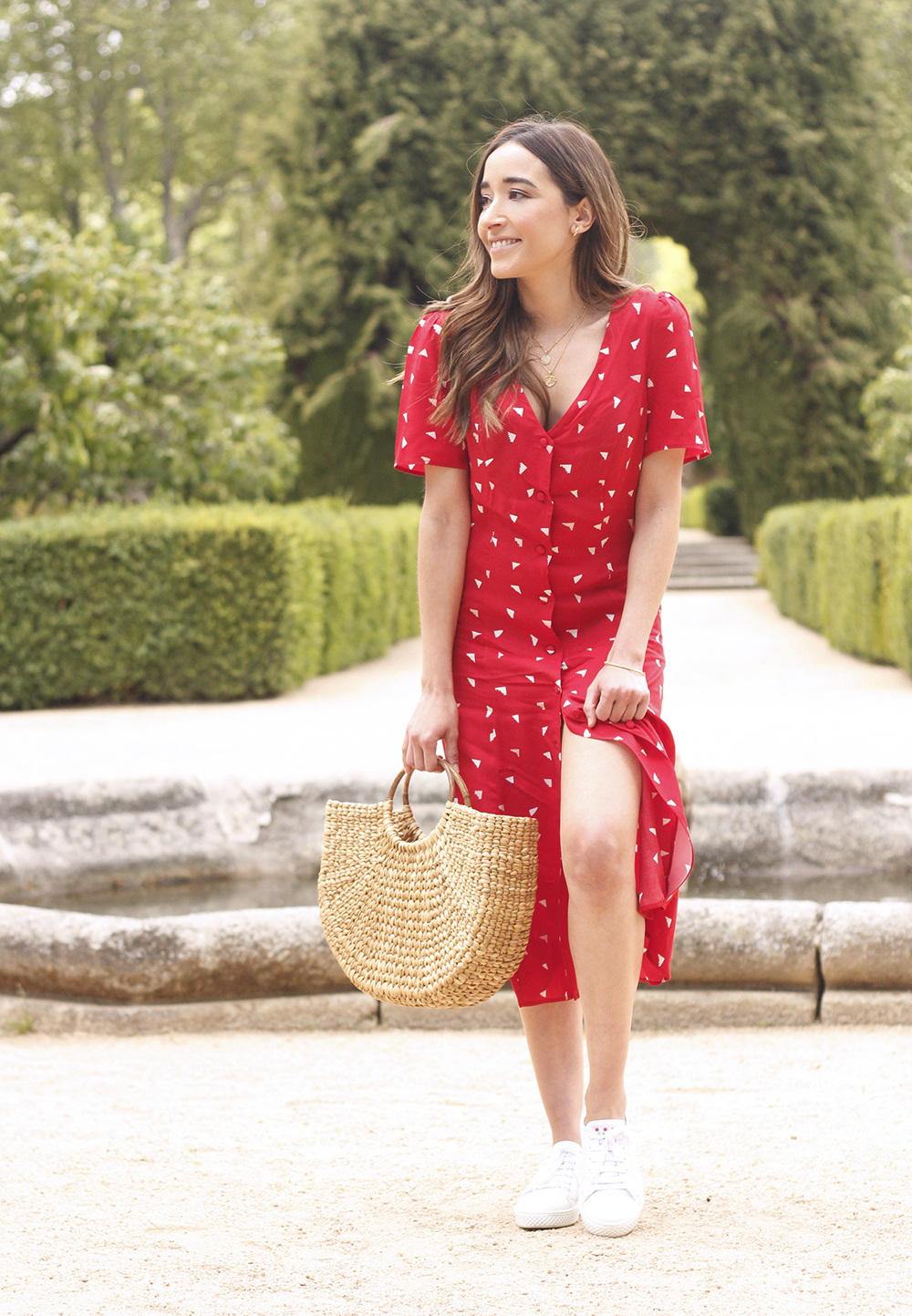 red midi summer dress white sneaker straw bag street style outfit 20196