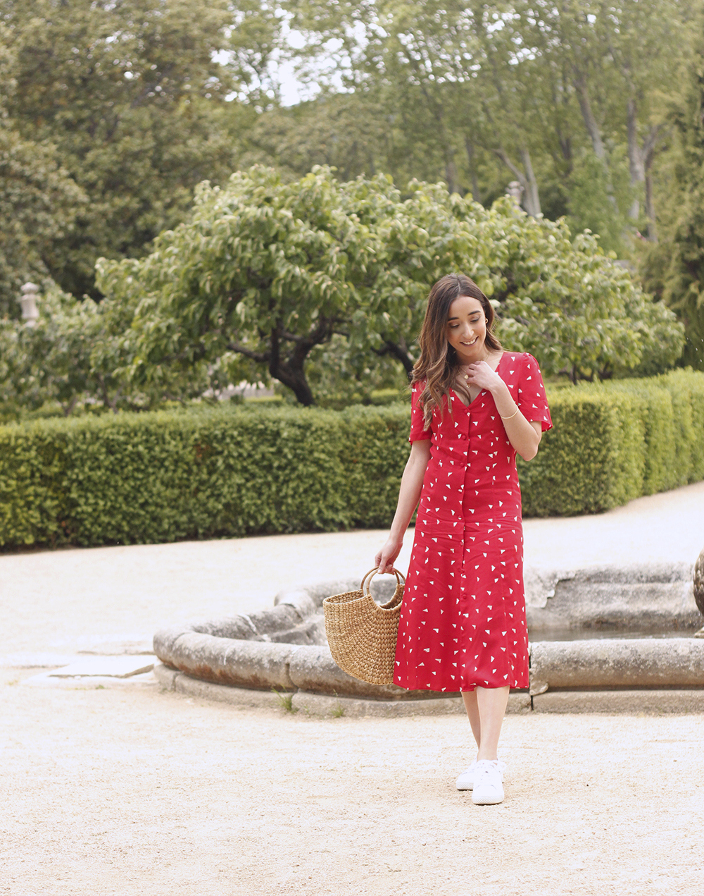 red midi summer dress white sneaker straw bag street style outfit 20193