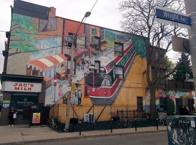 Mural on Wright Avenue just east on Roncesvalles, with bikes #toronto #roncesvalles #roncesvallesave #wrightave #mural #publicart #bike #504king #streetcars