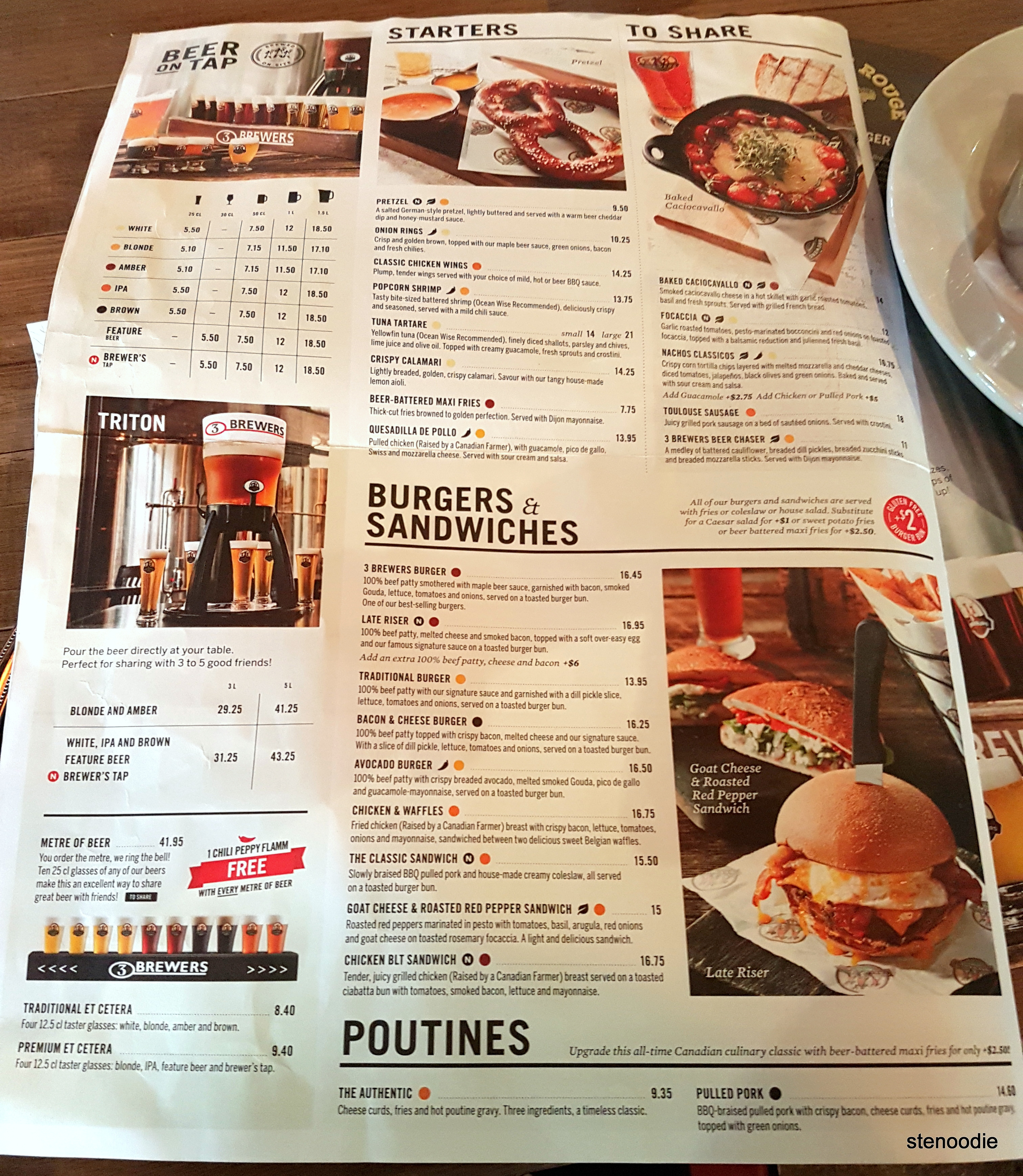 The 3 Brewers Richmond Hill menu and prices