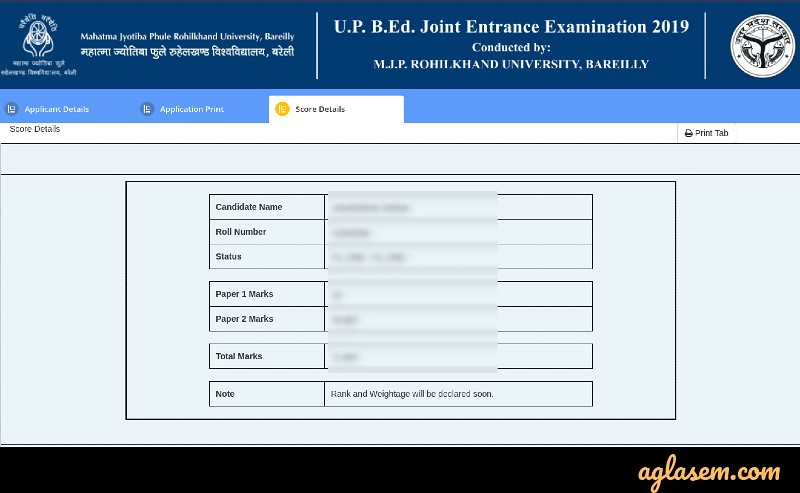 UP B.Ed JEE result 2020