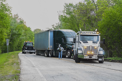 A truck accident pictured on backroad