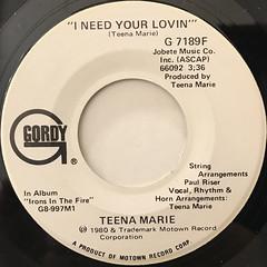 TEENA MARIE:I NEED YOUR LOVIN'(LABEL SIDE-B)