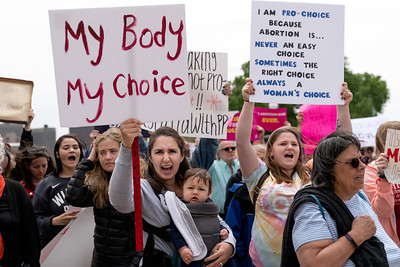 My body my choice sign at a Stop Abortion Bans Rally in St Paul, Minnesota