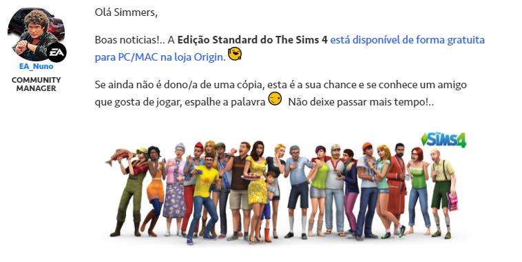 EA Distribui Cópias do The Sims 4 Gratuitamente