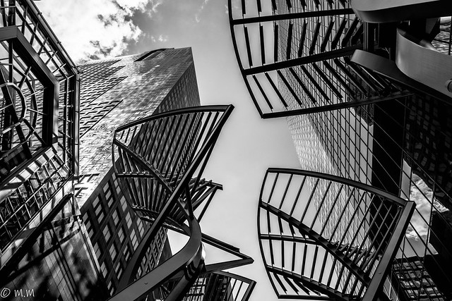 Sculpture and urban office buildings on Stephen Avenue Walk, Downtown, Calgary, Alberta, Canada, No