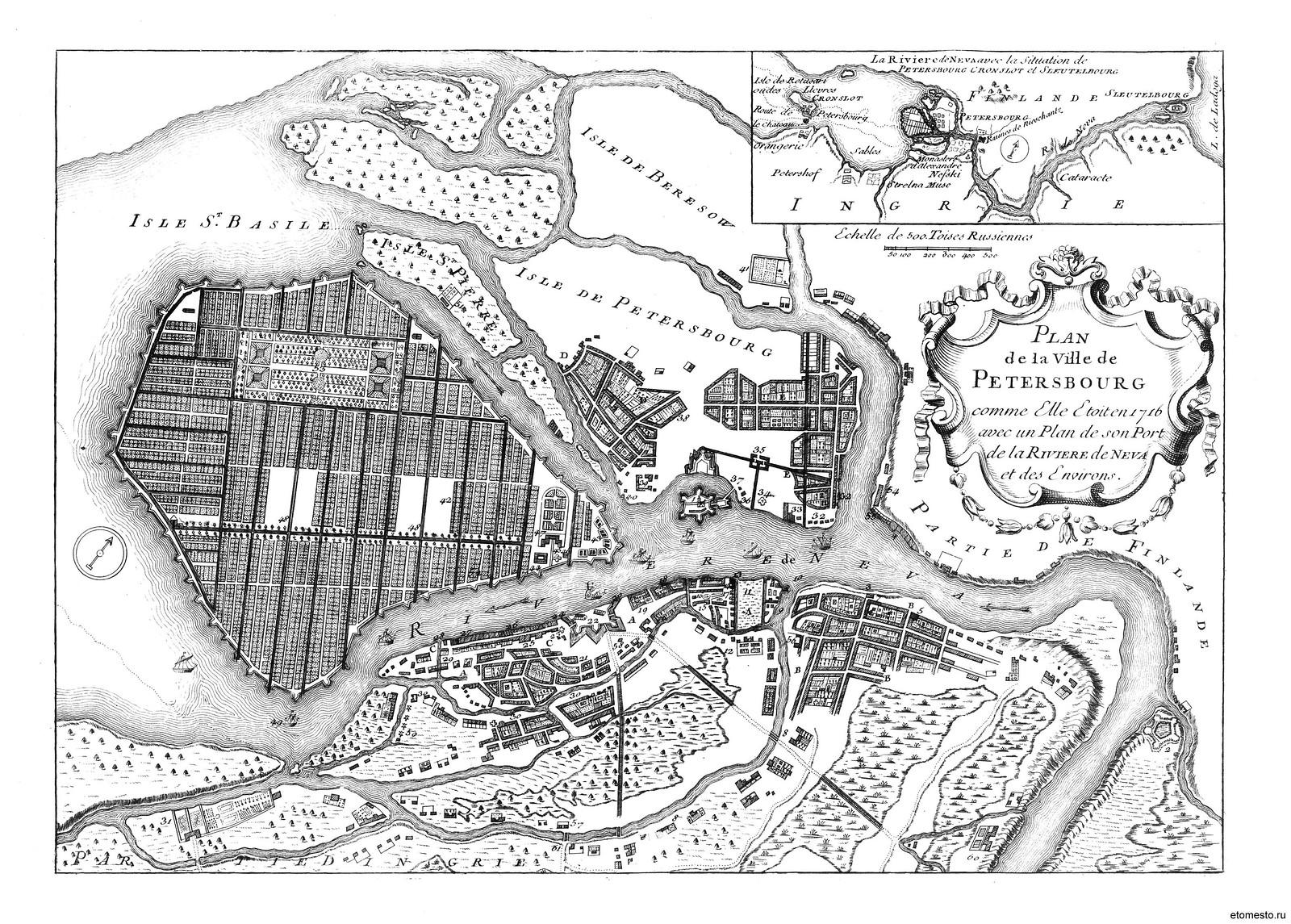 1716. План Петербурга на французском языке