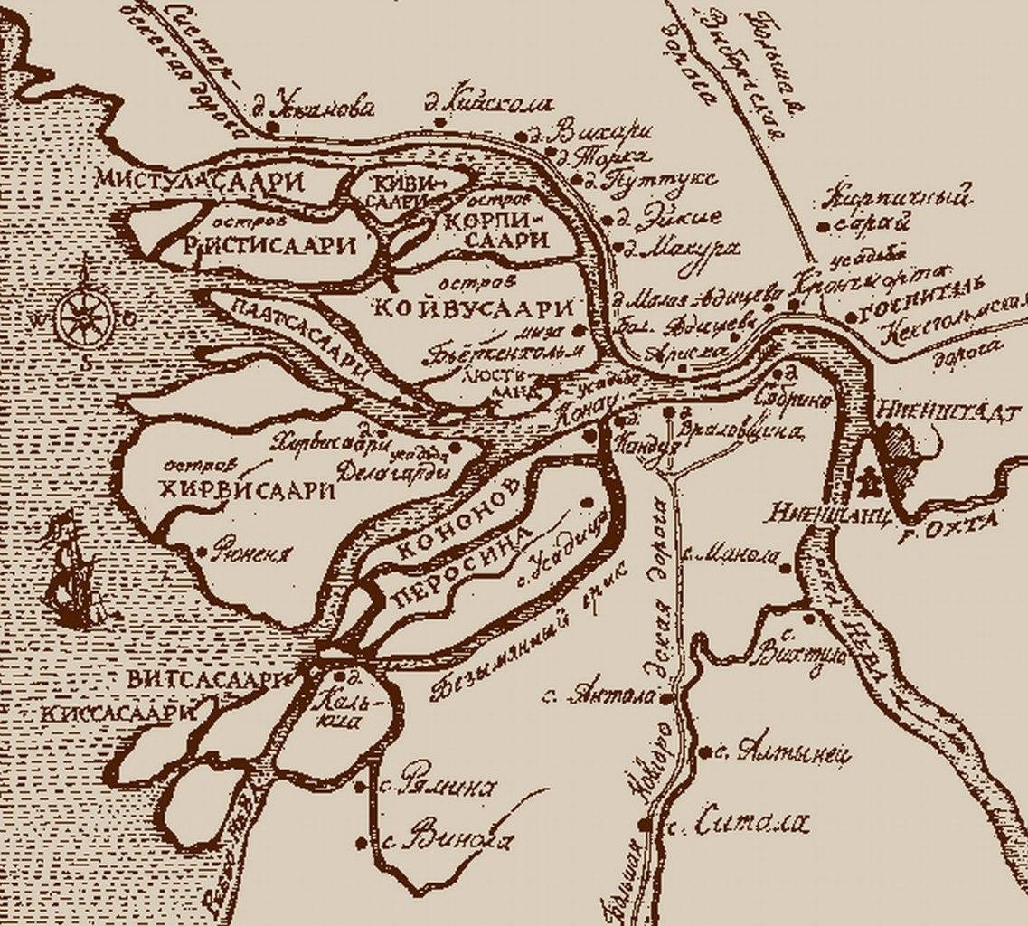 1690-е. Невская дельта до построения Петербурга.