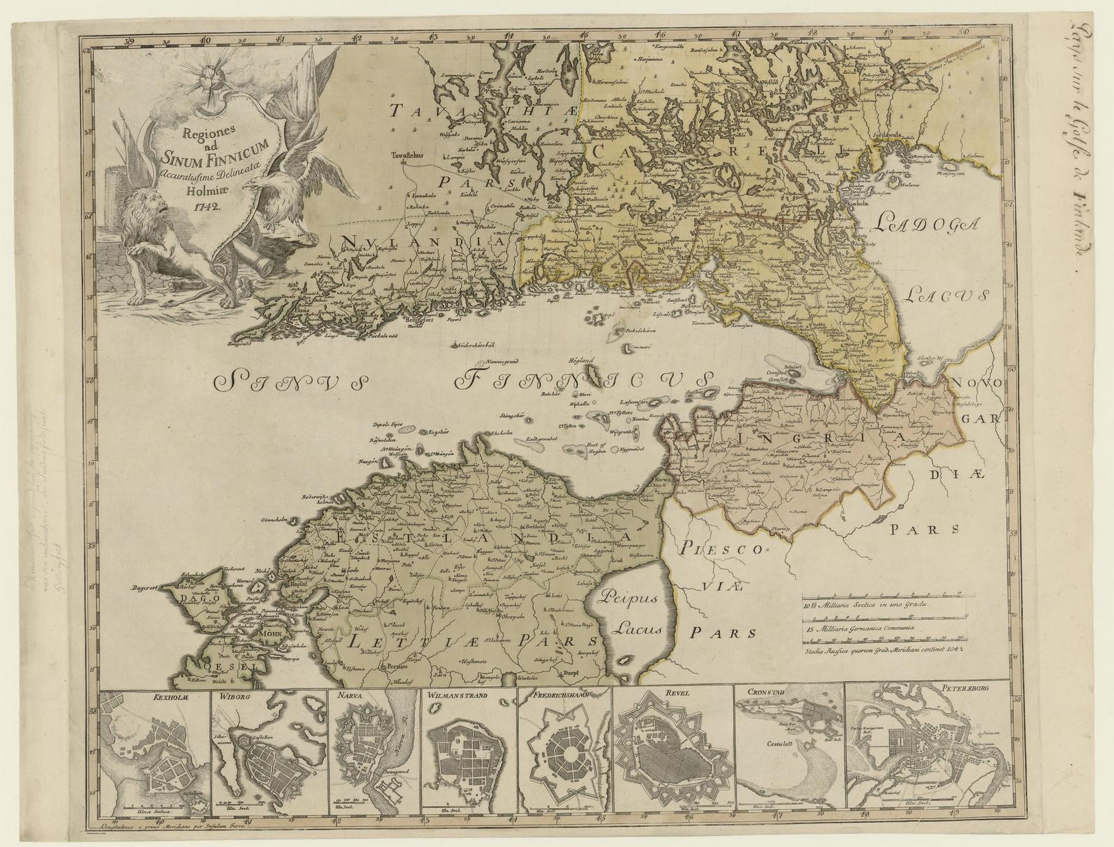 1742. Карта окрестных земель на побережье Финского залива