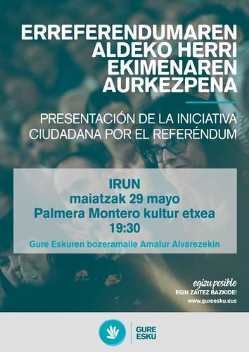 Cartel presentación Iniciativa ciudadana por el referéndum en Irun